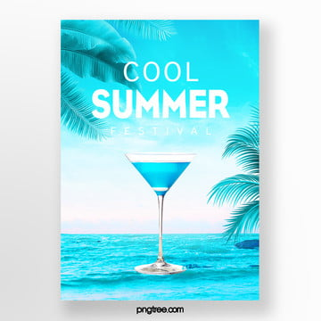 fresh summer snow mountain palm cold drink poster Template