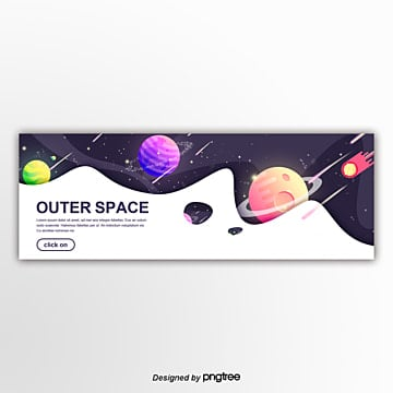 gradual colour outer space planet commercial creative web design banner Template