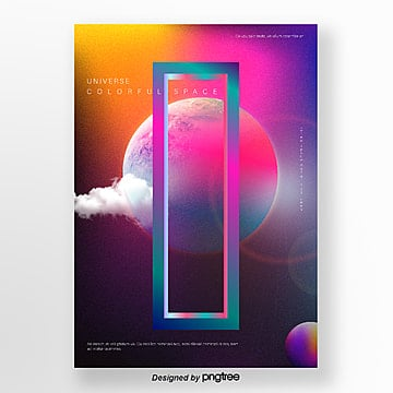gradual cosmic planet geometric style poster Template