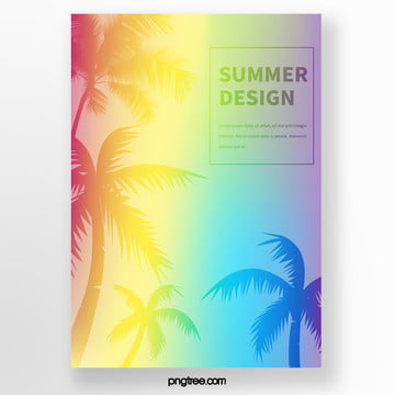 gradual holographic palm tree silhouette tropical plant poster Template