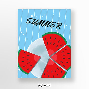 hand painted summer collage watermelon light blue card Template