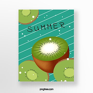 hand painted summer kiwifruit dark green card Template