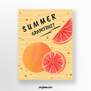 hand painted summer lemon light yellow fruit card Template