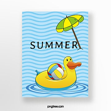 hand painted summer light blue wavy swimming circle card Template