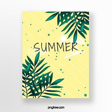 hand painted summer light yellow striped green leaf cards Template