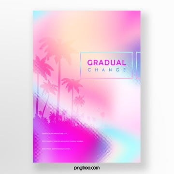 Pink Gradient Palm Projection Poster Template
