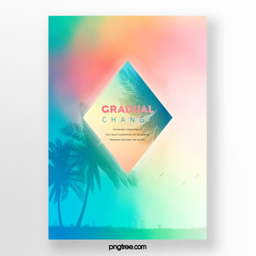 rhombic gradient palm projection poster Template