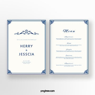 simple cobalt blue european style margin wedding invitation letter Template
