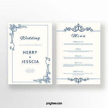 simple cobalt blue european wedding invitation letter Template