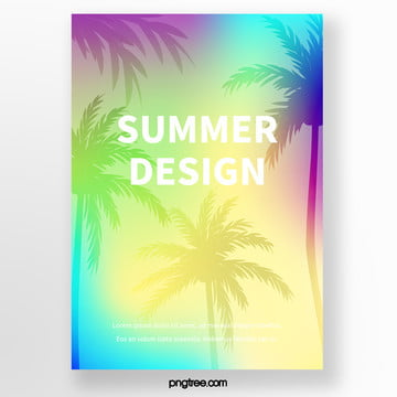 summer beach palm tree silhouette tropical plants poster Template