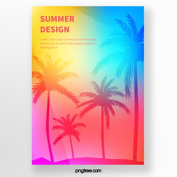 summer color palm tree tropical plant silhouette poster Template