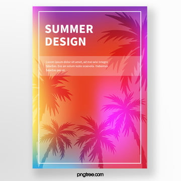 summer palm silhouette tropical plants poster Template