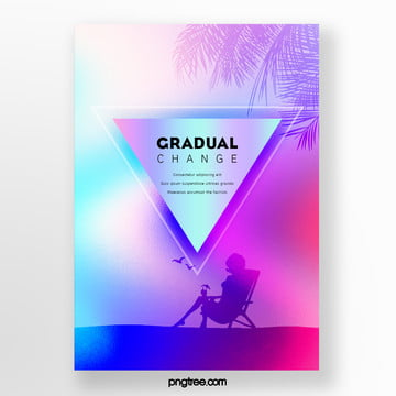 triangular gradient palm projection poster Template