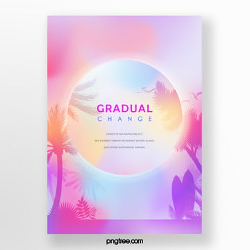 tropical gradient round palm projection poster Template