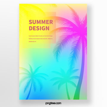 Tropical plant poster with backlighting palm tree silhouette Template