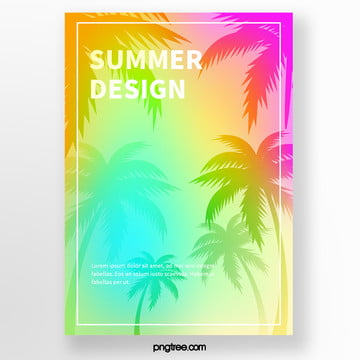 Yellow palm plant silhouette tropical plant Poster Template