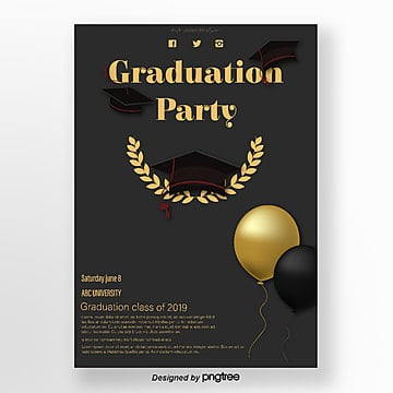 black and golden texture graduation party poster Template