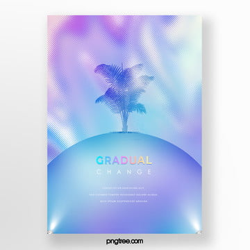 blue fashion holographic laser palm projection poster Template
