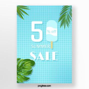 blue fresh summer colour poster Template