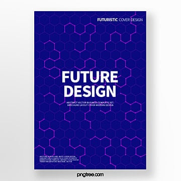 Blue Futurism Isometric Shape Abstract Cover Poster Template