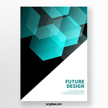 blue futurist geometric polygon abstract cover poster Template