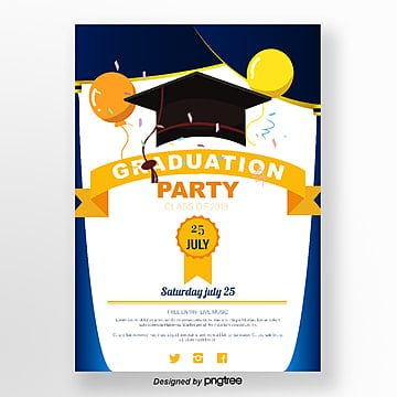 blue gradient curtain graduation party poster Template