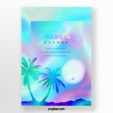 Blue Holographic Laser Palm Projection Poster Template