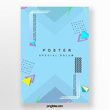 blue irregular geometry poster Template