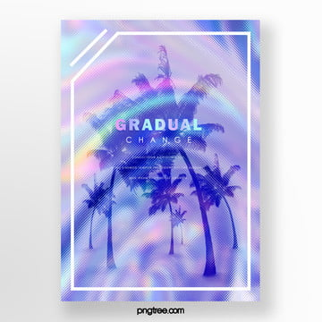 Blue Purple Holographic Laser Palm Projection Poster Template