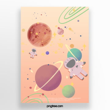 cartoon gradient astronaut exploration planet poster Template