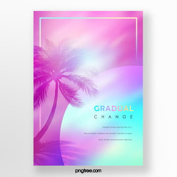 color geometric holographic gradual palm projection poster Template