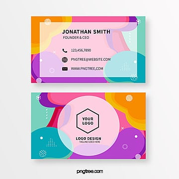 color geometry memphis style business card template Template