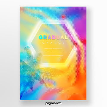 color hexagon holographic gradual palm projection poster Template