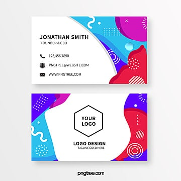 color memphis style business card template Template