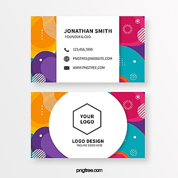 coloured memphis style business cards Template