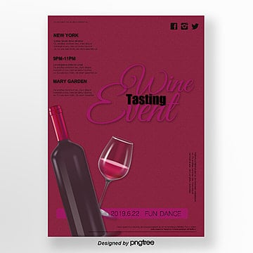 Dark Red Wine Tasting Activity Poster Template