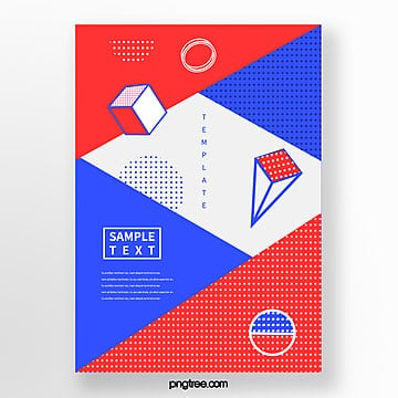 fashion geometric point poster with color block stitching Template