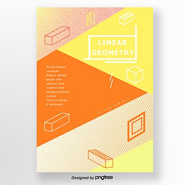 fashion simple style orange and yellow geometric point poster Template
