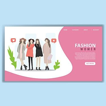fashion woman landing page template Template