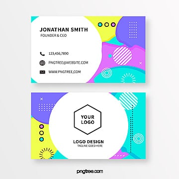 fresh fluorescent memphis style business card template Template