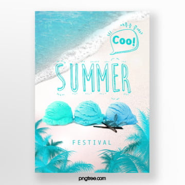 fresh summer beach palm ice cream posters Template