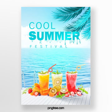 Fresh summer beach palm  posters Template