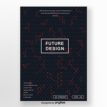 future style dark background red line cover design poster Template