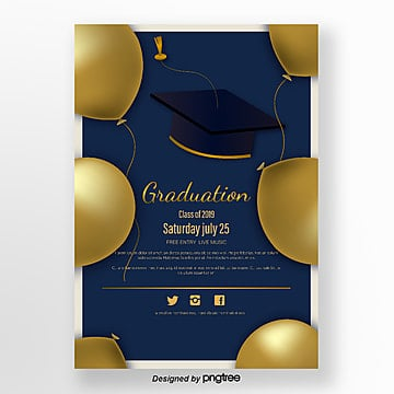 golden balloon elegant graduation party poster Template