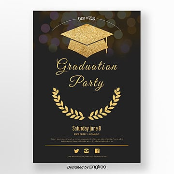 golden doctoral hat graduation party poster Template