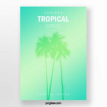 gradient holographic abstract projection poster of coconut tree Template