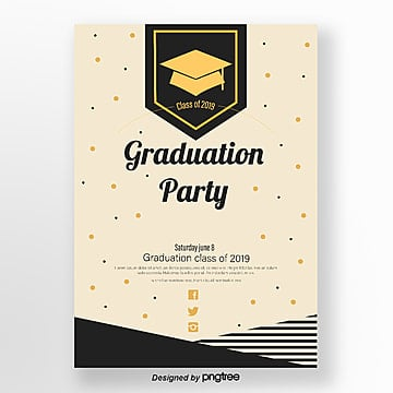 graduation party poster in light geometric style Template