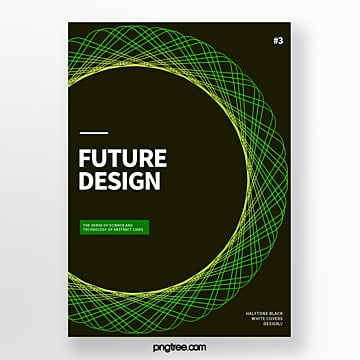 green futurist geometric halftone abstract cover poster Template