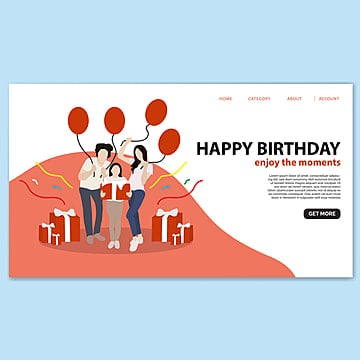 happy birthday landing page template Template