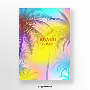 holographic color summer plant poster Template